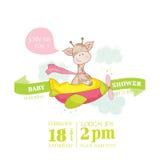 Детский душ или карточка прибытия с жирафом младенца иллюстрация вектора