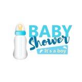 Детский душ оно ` s текст девушки с голубым реалистическим bottl младенца Стоковые Изображения RF