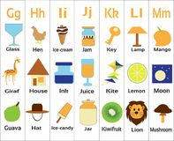 Детск-алфавиты-ghijklm для малых детей стоковое изображение