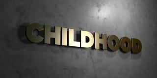 Детство - текст золота на черной предпосылке - 3D представило изображение неизрасходованного запаса королевской власти иллюстрация штока