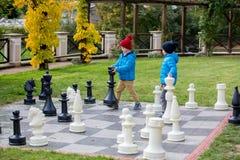 2 дет, братья мальчика, играя шахмат с огромными диаграммами в t Стоковые Фото