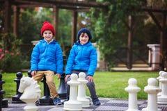 2 дет, братья мальчика, играя шахмат с огромными диаграммами в t Стоковые Изображения RF