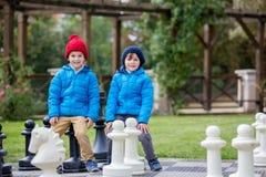 2 дет, братья мальчика, играя шахмат с огромными диаграммами в t Стоковая Фотография RF