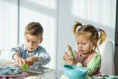 2 дет варят что-то от теста Стоковые Изображения RF