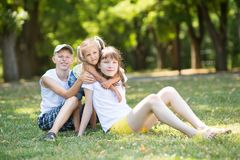 3 дет в парке Стоковые Фото