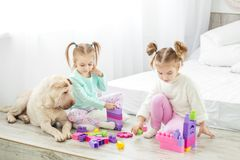 2 дет ` девушек сыграны пластичными блоками игрушек Собака l Стоковые Изображения RF