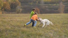 2 дет играя с золотым retriever на поле сток-видео