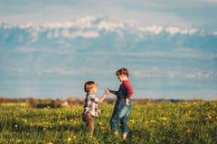 2 дет, маленький брат и старшая сестра, играя совместно outdoors в швейцарских полях с взглядом на женевском озере Стоковое фото RF