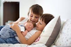 2 дет, малыш и его старший брат, обнимая и целуя t Стоковое Фото