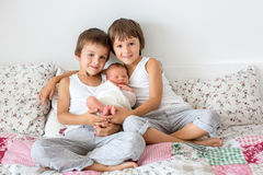 2 дет, малыш и его старший брат, обнимая и целуя t Стоковые Изображения RF