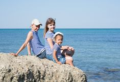 3 дет на пляже Стоковые Фотографии RF