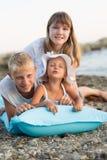 3 дет на пляже Стоковое Фото