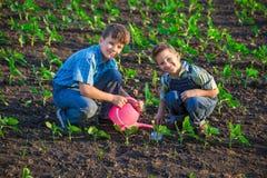 2 дет сидя с лопаткоулавливателем на зеленом поле Стоковое Фото