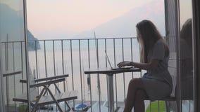 Деятельность женщины на ноутбуке видеоматериал