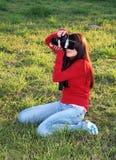 деятельность женщины фотографа Стоковые Изображения