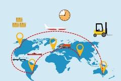 Деятельность международной логистической компании всемирная Авиационный груз перевозя на грузовиках, железнодорожные перевозки иллюстрация штока