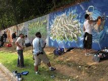 деятельность настенной росписи в 500 ног Стоковое Фото