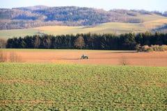 Деятельность на ферме, современный аграрный переход трактора, фермер работая в поле, плодородной земле, тракторе на заходе солнца стоковое фото