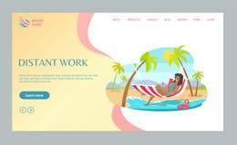 Деятельность фрилансера на пляже с вектором сети ноутбука бесплатная иллюстрация