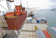 Деятельность контейнера в порте с кранами и загрузкой портала/контейнерами discharging стоковая фотография