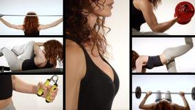 Деятельность при женщины фитнеса видеоматериал