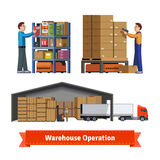 Деятельность, работники и роботы склада Стоковые Изображения