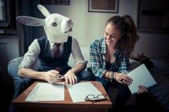 Деятельность человека и женщины маски кролика Стоковые Фотографии RF