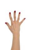 Деланные маникюр красным цветом пальцы 5 жеста рукой женщины открытые вверх Стоковые Фотографии RF