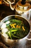 Делать здоровые листовую капусту и суп грибов Стоковые Изображения RF