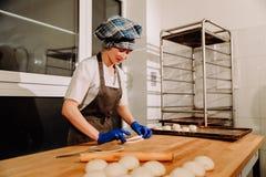 Делать плюшки циннамона Домодельное сырцовое тесто дрожжей после поднимать готовый для того чтобы испечь стоковая фотография rf