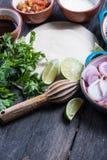 Делать традиционные мексиканские буррито с вытягиванной говядиной Стоковые Фото