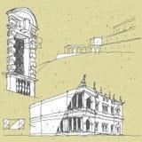 Делать эскиз к историческому зодчеству в Италии Стоковое Изображение RF