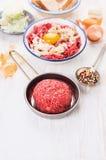 Делать rissoles мяса, подготовка с семенить мясом и специи Стоковое Изображение