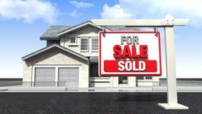 Делающ дом, и дом для продажи, проданный знак иллюстрация вектора
