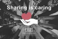 Делить заботит пожертвование денег дает концепцию стоковое фото