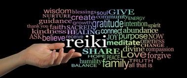 Делить заголовок вебсайта облака слова Reiki Стоковые Изображения