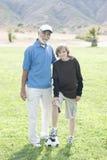 Дед и внук с футболом Стоковое фото RF