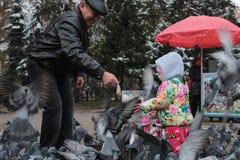Дед и внучка подавая птицы в Алма-Ате в Казахстане Стоковые Фотографии RF