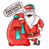 Дед Мороз нося вкладыш вполне подарков Иллюстрация вектора