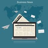 Деловые новости, плоская иллюстрация вектора, apps, знамя бесплатная иллюстрация