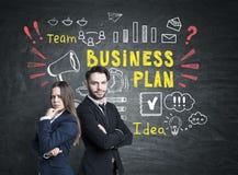 Деловые партнеры и яркий бизнес-план Стоковое Изображение