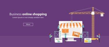 Дело вектора на линии магазине Создайтесь на линии магазине дело людей плоская сеть знамени бесплатная иллюстрация