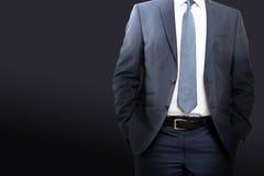 Дело и концепция офиса - buisnessman в костюме сини/военно-морского флота Стоковое фото RF