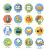 Дело, офис и значки деталей маркетинга иллюстрация вектора