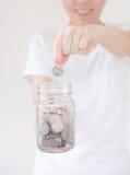 Дело, финансы, сбережения, банк и концепция людей стоковая фотография rf