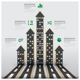 Дело Infographic недвижимости и свойства с строить Arro Стоковые Изображения