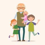 Дед с ее внуками Стоковое Изображение