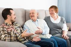 Деды и беседа внука Стоковая Фотография RF