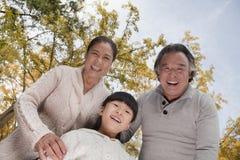 Деды и внучка усмехаясь и смотря вниз в парке Стоковые Изображения RF