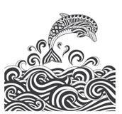 Дельфины zentangle вектора в море скроллинга развевают для взрослой страницы расцветки, обложки книги, плаката, дизайна футболки  иллюстрация штока